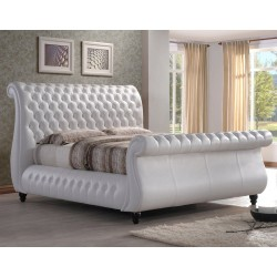 Buckingham Bayleigh White Real Leather bed