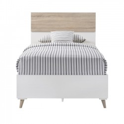 Stockholm Matt White & Oak 3'0 Bed