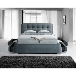 Gregham Grey Fabric Bed 4 Drawers ( 2 Front drawers, 2 Side drawers )
